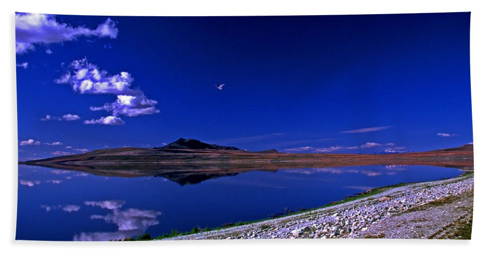 Utah Bath Sheet featuring the photograph Antelope Island by Rich Walter