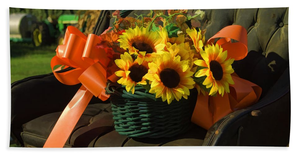 Buggy Bath Sheet featuring the photograph Antique Buggy And Sunflowers by Kathy Clark
