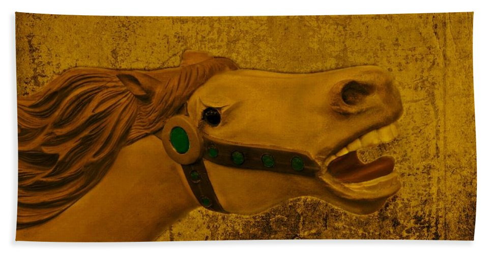 Carousel Hand Towel featuring the photograph Antique Carousel Appaloosa Horse by David Dehner