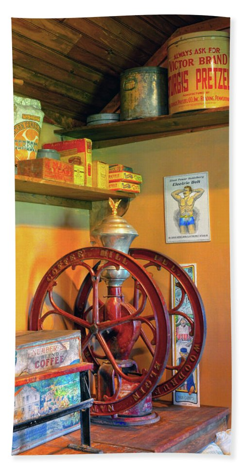 Coffee Mill Hand Towel featuring the photograph Antique Coffee Mill by Dave Mills