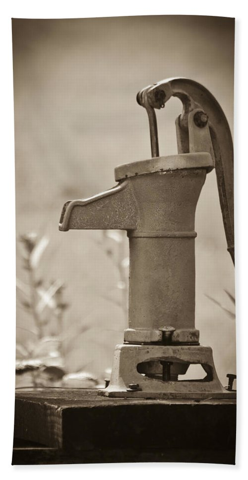 Pump Bath Sheet featuring the photograph Antique Hand Water Pump by Carolyn Marshall