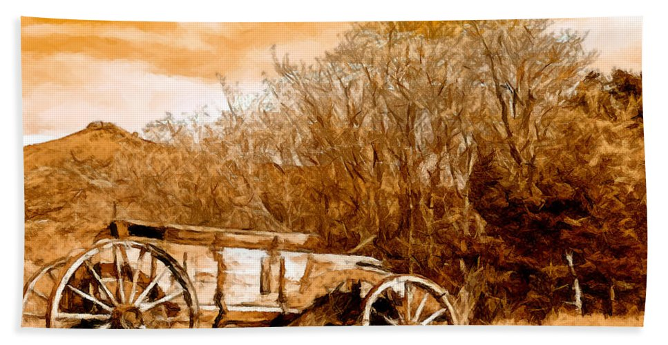 Antique Wagon Bath Sheet featuring the painting Antique Wagon by Bob and Nadine Johnston