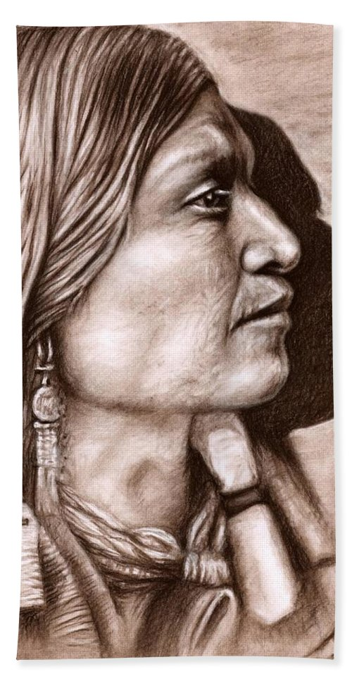 Portrait Hand Towel featuring the drawing Apache Chief by Nicole Zeug