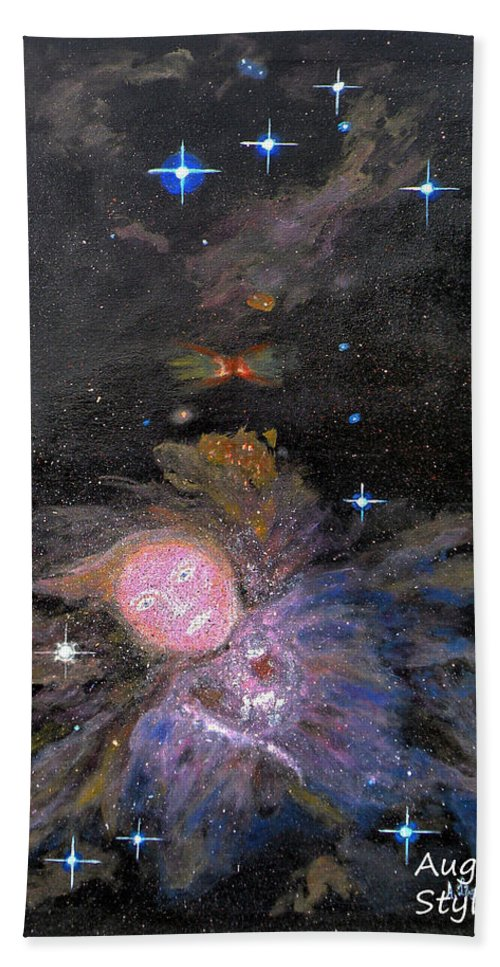 Augusta Stylianou Hand Towel featuring the painting Aphrodite In Orion's Nebula by Augusta Stylianou