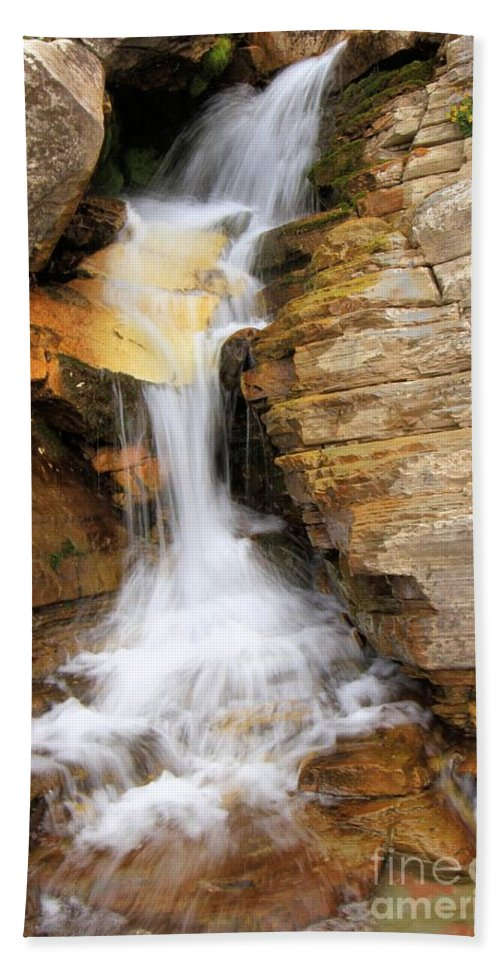 Apikuni Falls Hand Towel featuring the photograph Apikuni by Adam Jewell