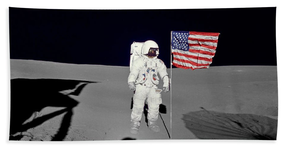 1971 Bath Sheet featuring the photograph Apollo 14 Astronaut Stands by Stocktrek Images