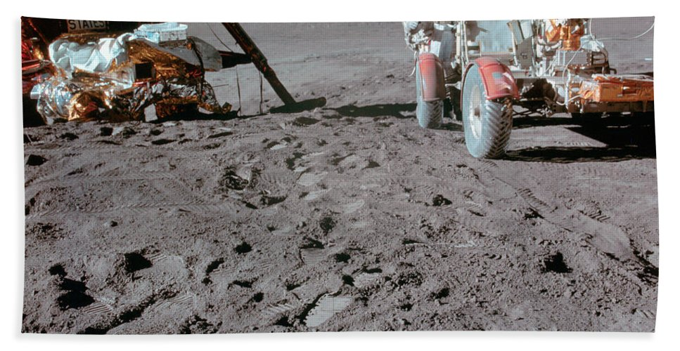 1971 Bath Sheet featuring the photograph Apollo 15 Astronaut Works At The Lunar by Stocktrek Images
