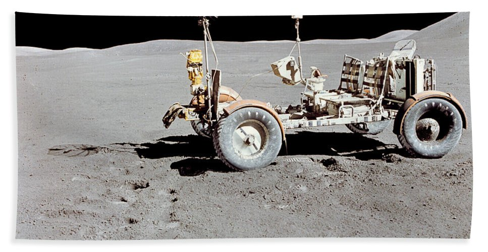 1971 Bath Sheet featuring the photograph Apollo 15 Lunar Roving Vehicle by Stocktrek Images
