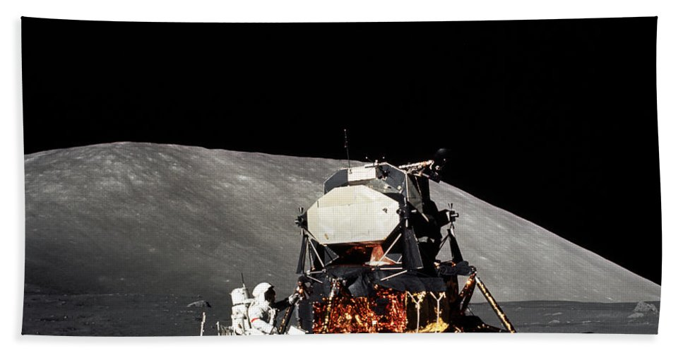 1972 Bath Sheet featuring the photograph Apollo 17 Astronaut Makes A Short by Stocktrek Images