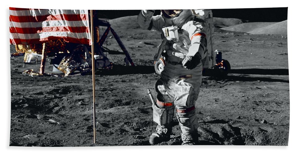 1972 Bath Sheet featuring the photograph Apollo 17 Astronaut Salutes The United by Stocktrek Images