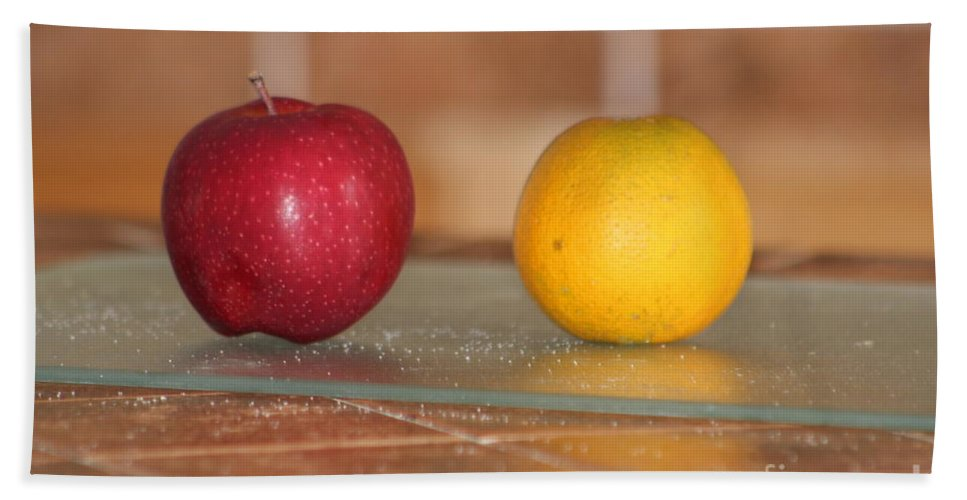 Fruit Bath Sheet featuring the photograph Apple And Orange by Michelle Powell