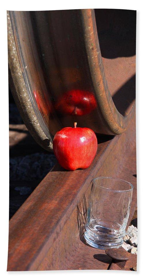 Apple Bath Sheet featuring the photograph Apple Juice Railroad 4 by John Brueske