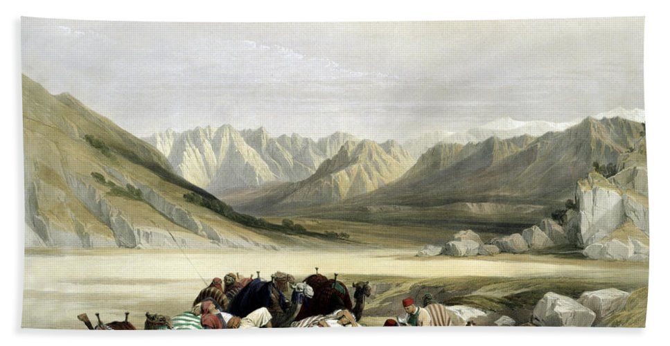 Mount Sinai Hand Towel featuring the photograph Approach To Mount Sinai Wady Barah Feby 17th 1839 by Munir Alawi