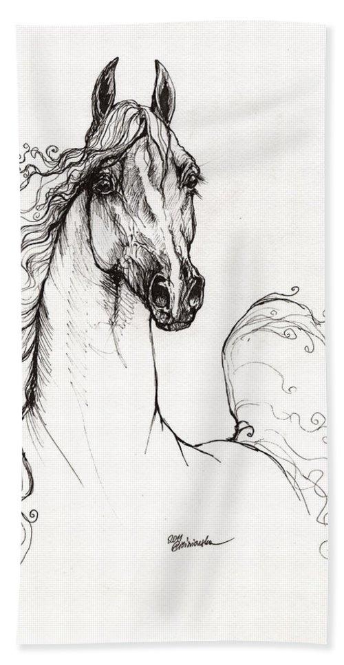 Horse Bath Sheet featuring the drawing Arabian Horse Drawing 41 by Angel Ciesniarska