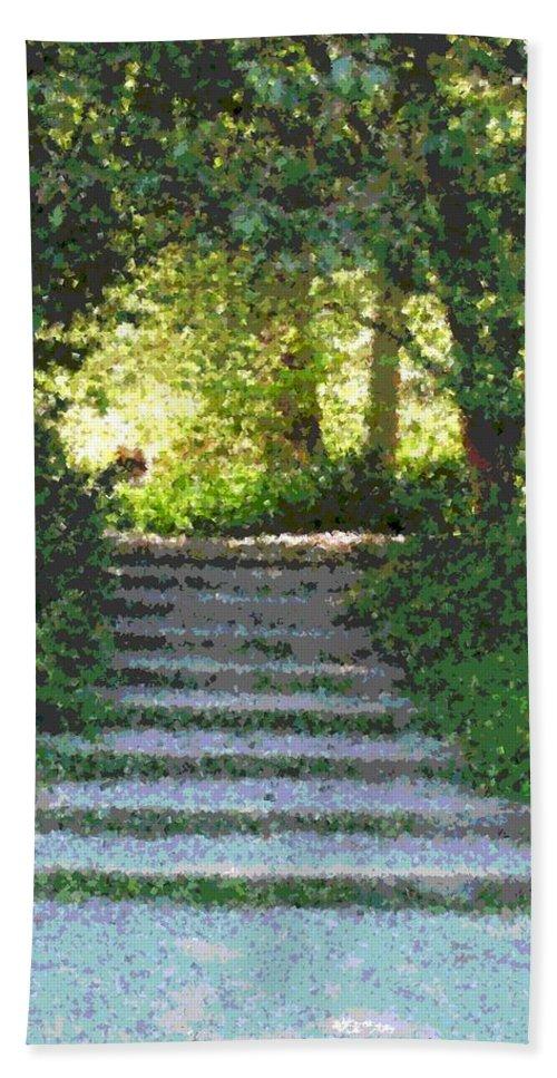 Steps Hand Towel featuring the digital art Arboretum Steps by Tim Allen