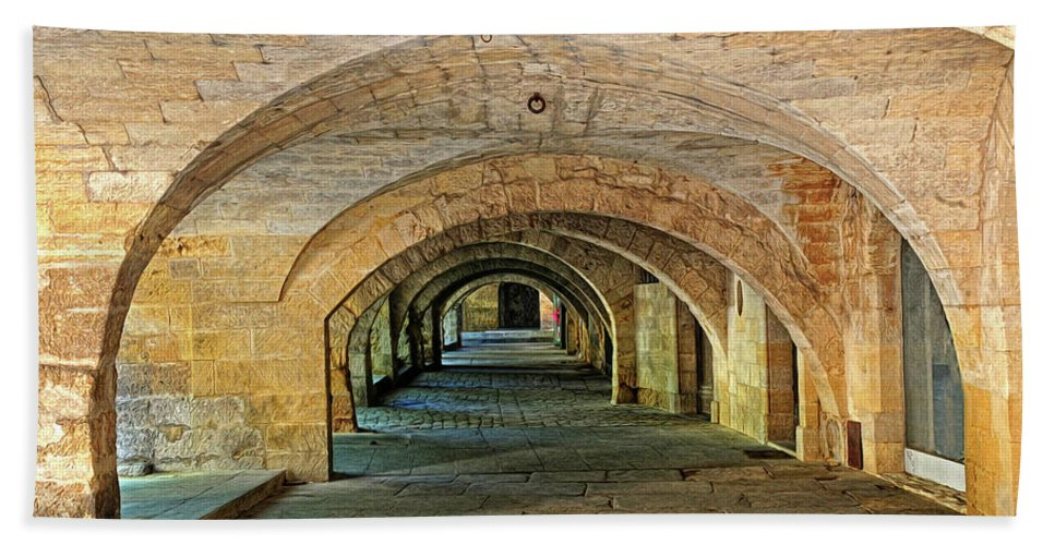 Arch Bath Sheet featuring the photograph Arched Walkway In Provence by Dave Mills