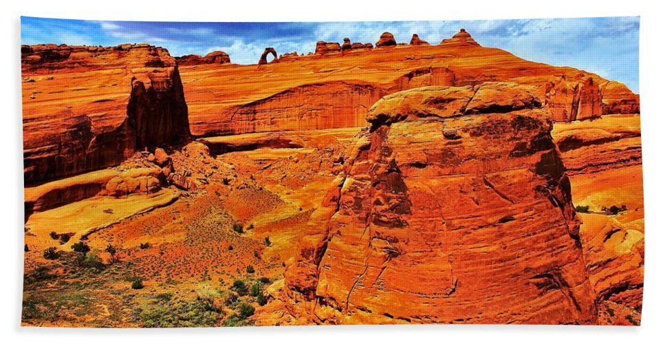 Arches Bath Sheet featuring the photograph Arches Canyon by Benjamin Yeager