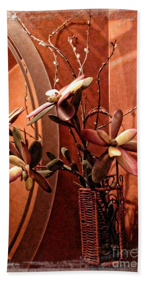 Floral Hand Towel featuring the photograph Arrangement In Mirror by Joan Minchak