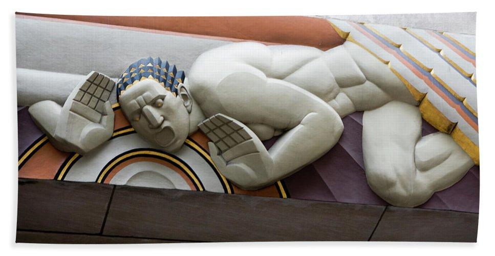 New York City Bath Sheet featuring the photograph Art Deco Holler 30 Rock by Lorraine Devon Wilke