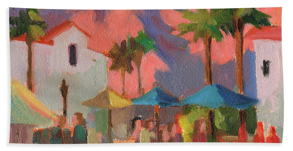 Festival Hand Towel featuring the painting Art Under The Umbrellas by Diane McClary