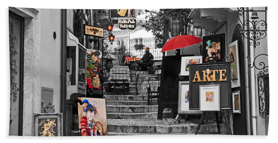 Sicily Bath Sheet featuring the photograph Artful Bistro by Pat Walsh