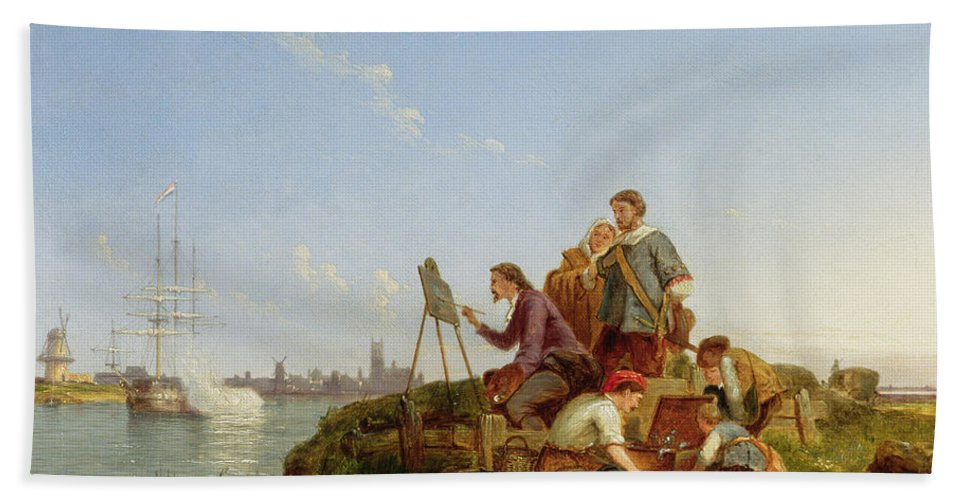 Painter; Painting; Apprentice; Ship; Boat; Shore; Windmill; Dommersen Bath Sheet featuring the painting Artist At His Easel And Shipping Beyond by Pieter Christiaan Cornelis Dommelshuizen