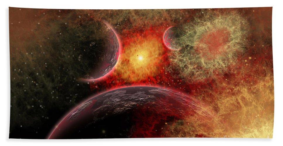 Blowing Up Bath Sheet featuring the digital art Artist Concept Illustrating The Stellar by Mark Stevenson