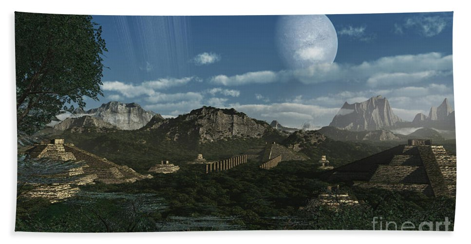 No People Bath Sheet featuring the digital art Artists Concept Of Mayan Like Ruins by Frieso Hoevelkamp