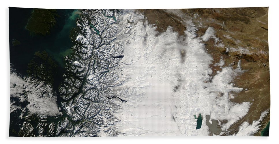 Argentina Bath Towel featuring the photograph Ash Plume From Chaiten Volcano And Snow by Stocktrek Images