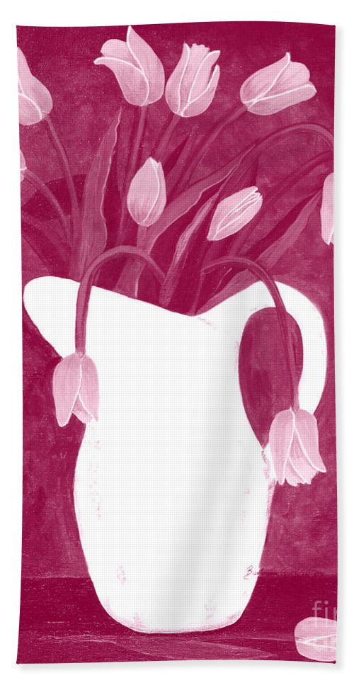 Ashes Of Roses Bath Sheet featuring the painting Ashes Of Roses Tulips by Barbara Griffin