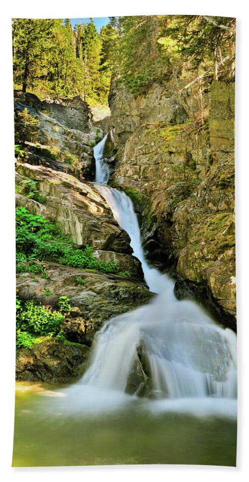 Glacier National Park Hand Towel featuring the photograph Aster Falls by Greg Norrell