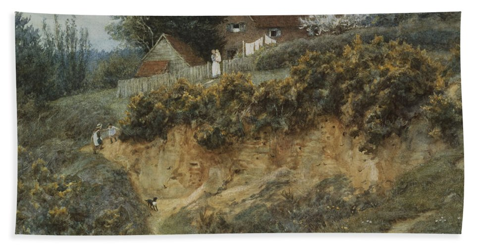 English; Landscape; Rural; C19th; C20th; Hill; Hilly; Cottage; Bank; Children; Playing; Victorian Bath Sheet featuring the painting At Sandhills Witley by Helen Allingham