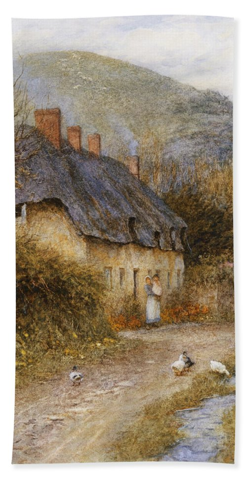 Thatched; Thatch; Cottage; West Country; Path; Lane; Rural; Stream; Ducks; Hill; Mother; Child Bath Sheet featuring the painting At Symondsbury Near Bridport Dorset by Helen Allingham