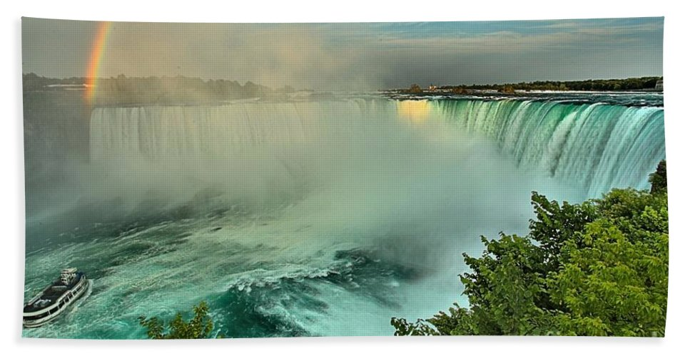 Niagara Falls Hand Towel featuring the photograph At The Base Of Horseshoe by Adam Jewell