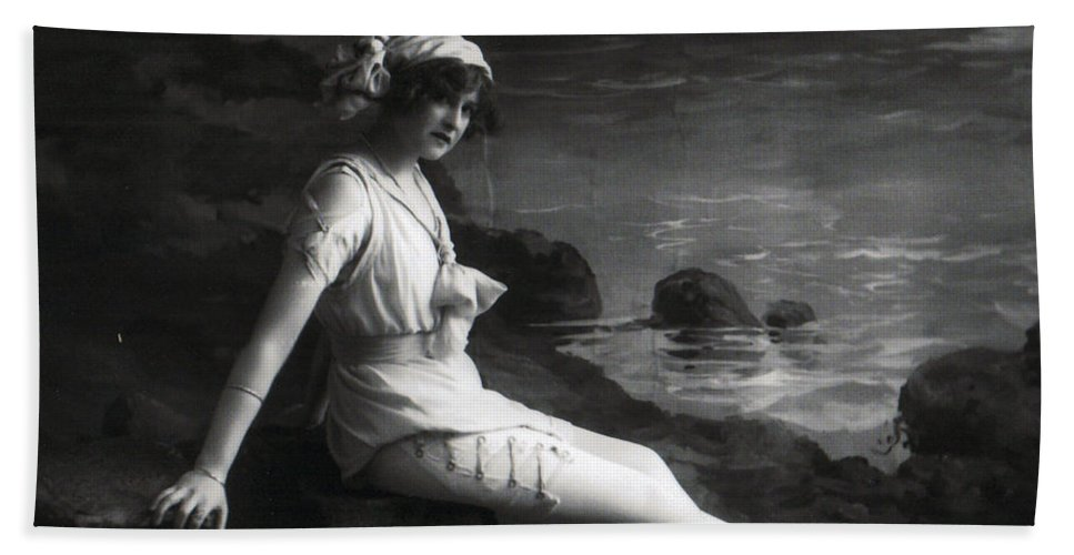 Young Woman Girl Female Lady Sexy Erotic Vintage Photograph Beach Coast Hand Towel featuring the photograph At The Beach by Steve K