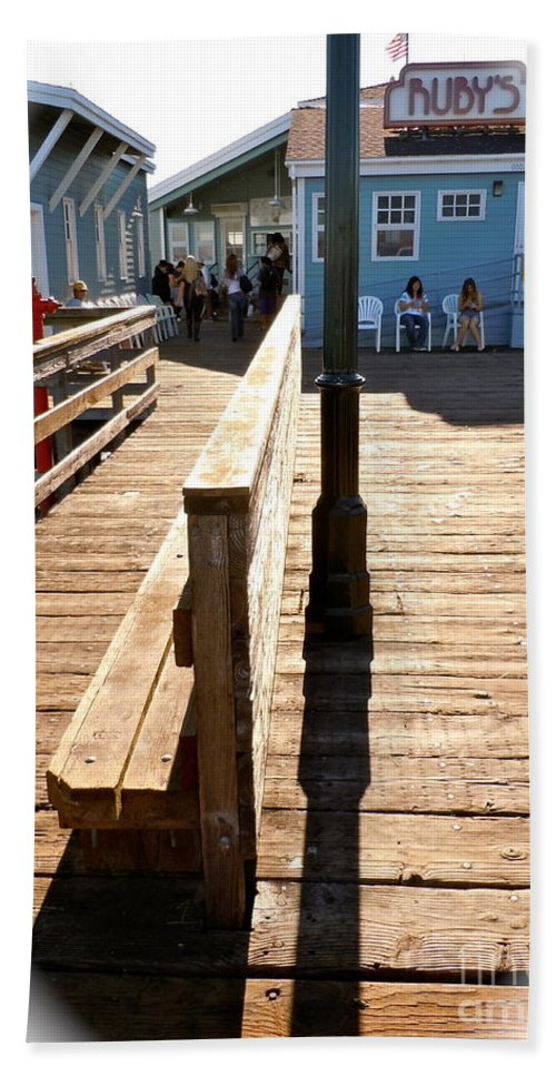 Pier Hand Towel featuring the photograph At The Piers End by Customikes Fun Photography and Film Aka K Mikael Wallin
