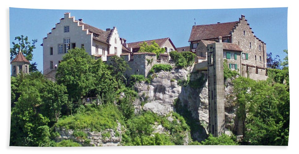 Swiss Hand Towel featuring the photograph At The Rhine Falls by Greg Plamp
