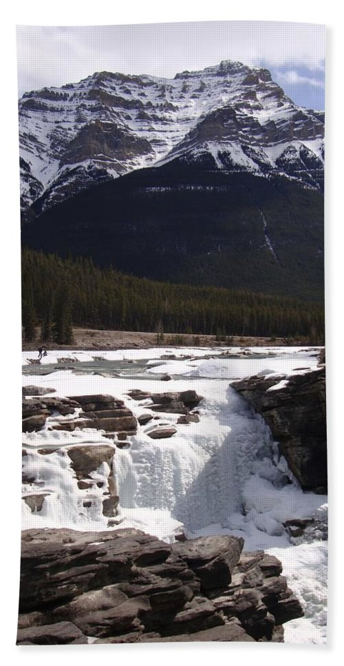 Landscape Bath Sheet featuring the photograph Athabasca Falls by Ian Mcadie