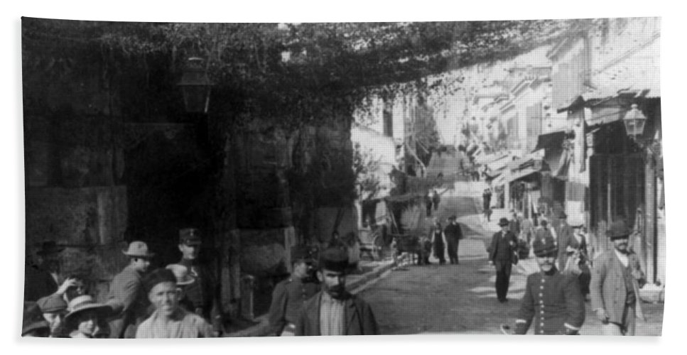 athens Greece Bath Sheet featuring the photograph Athens Greece C 1903 - Aeolos Street And The Stoa Of Hadrian by International Images