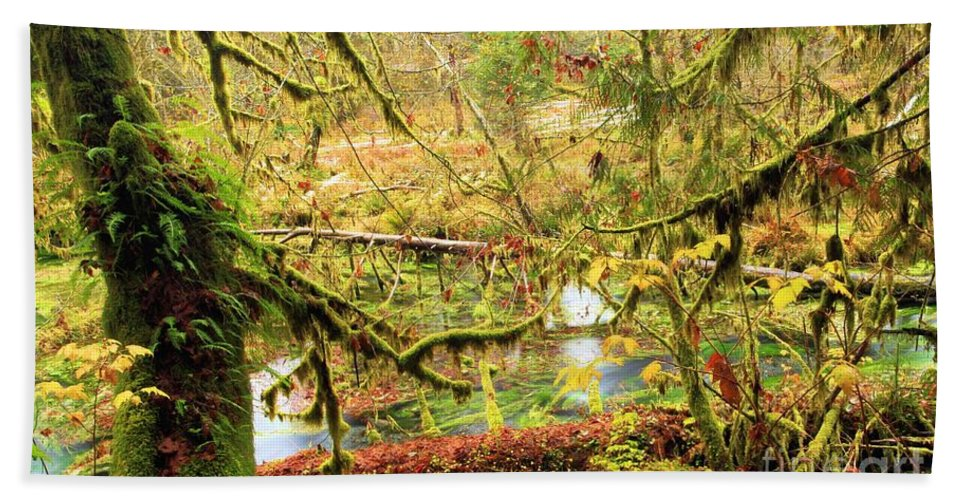 Hoh Rainforest Hand Towel featuring the photograph Attack Of The Moss by Adam Jewell