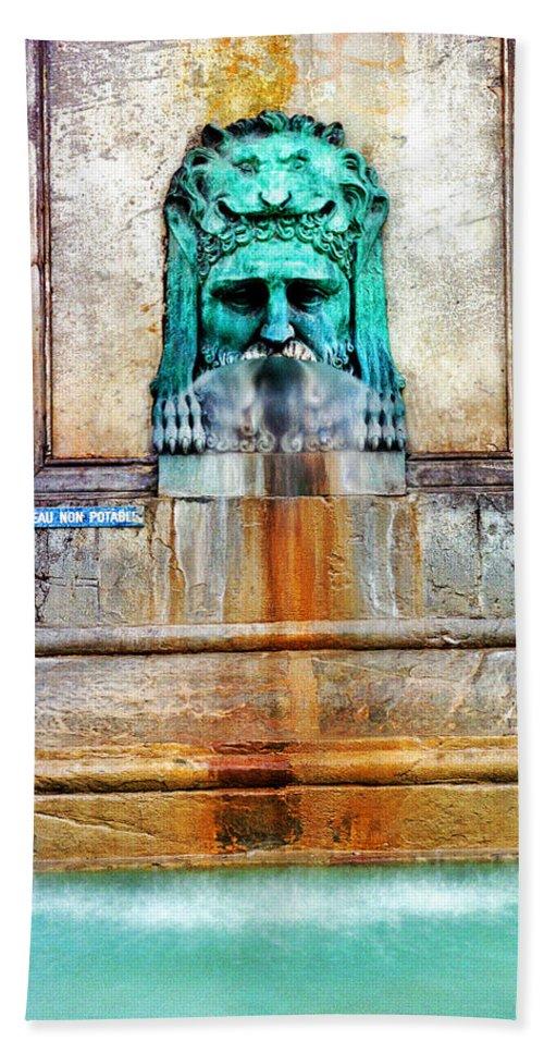 Fountain Bath Sheet featuring the photograph Au Non Potable A Fountain In Arles by Greg Matchick