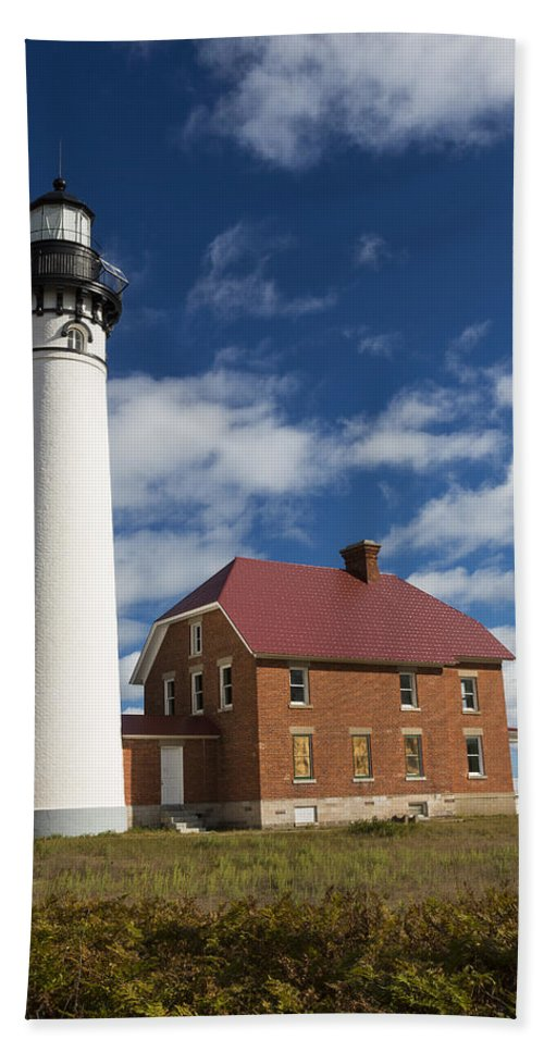 Au Sable Hand Towel featuring the photograph Au Sable Lighthouse 5 by John Brueske
