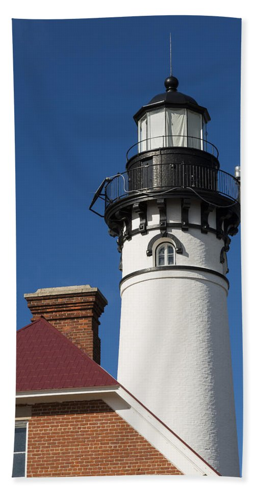 Au Sable Hand Towel featuring the photograph Au Sable Lighthouse 6 by John Brueske