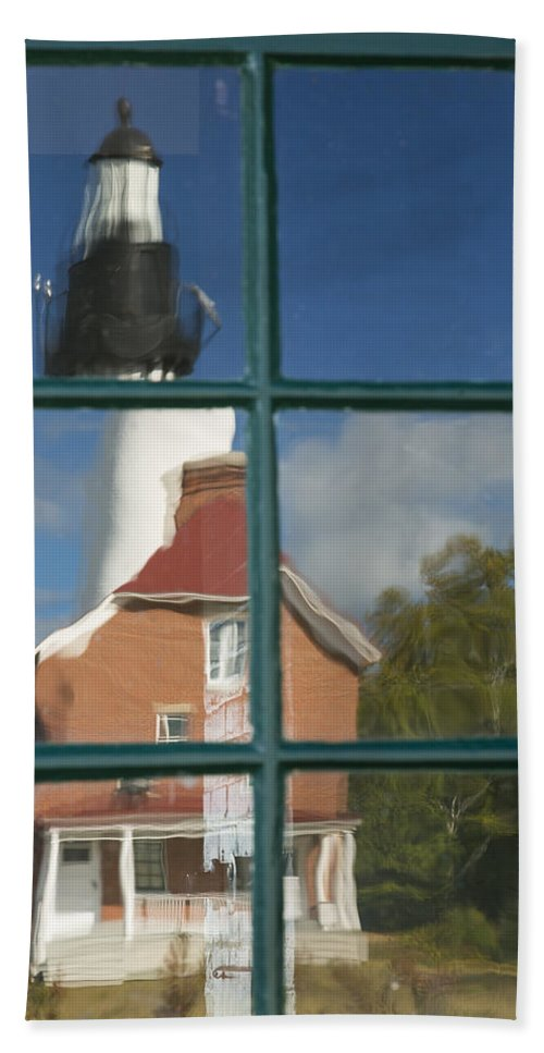 Window Hand Towel featuring the photograph Au Sable Lighthouse Abstract 1 by John Brueske