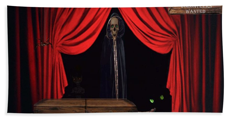 Skeleton Bath Sheet featuring the mixed media Audience Volunteers Wanted by David Dehner
