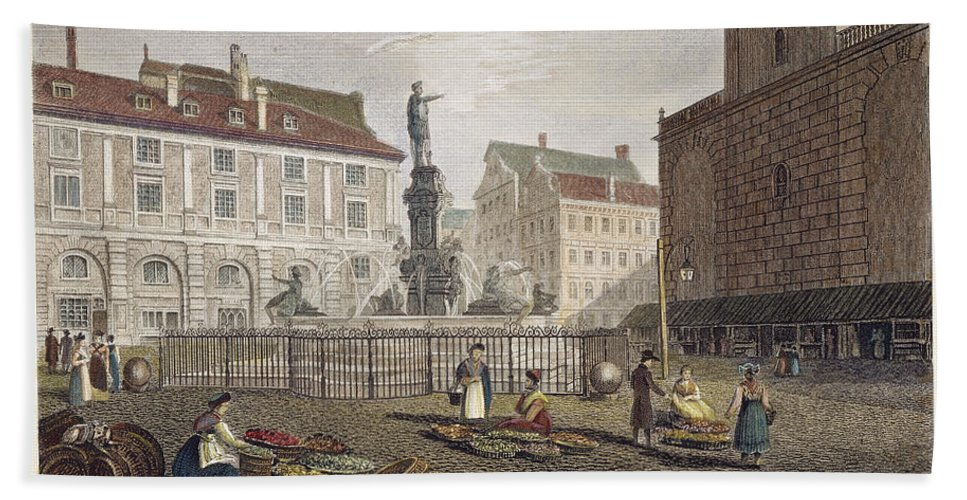 1823 Bath Sheet featuring the photograph Augsburg, 1823 by Granger