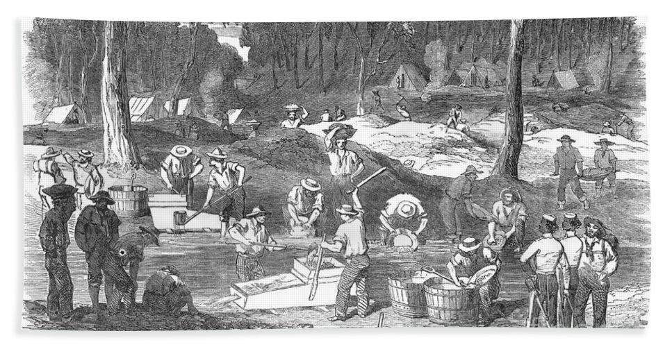 1851 Bath Sheet featuring the photograph Australian Gold Rush, 1851 by Granger