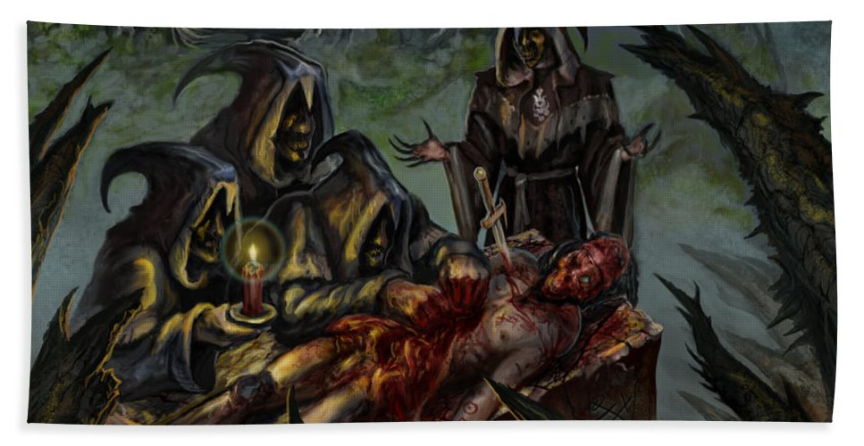 Apostles Of Perversion Bath Sheet featuring the mixed media Autopsy Of The Damned by Tony Koehl