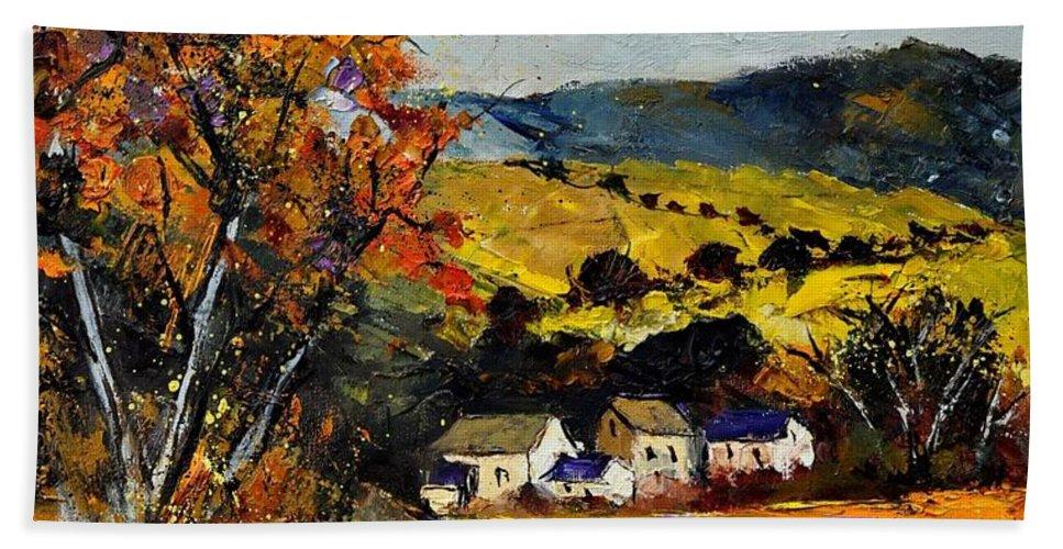 Landscape Bath Towel featuring the painting Autumn and village by Pol Ledent