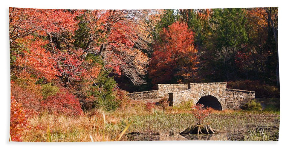 Autumn Hand Towel featuring the photograph Autumn Bridge by David Rucker